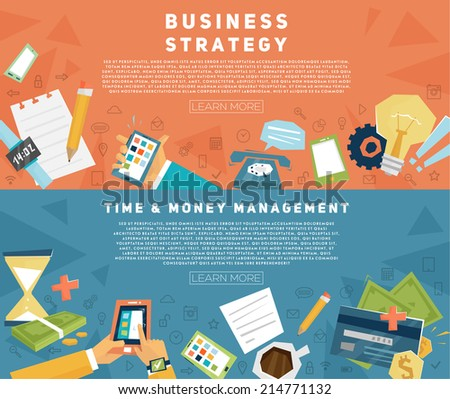Set of Flat Style Designs. Business Concepts. Strategy and Management. Teamwork, Consulting, Planning, Brainstorming and Presentation Concepts Design. Marketing and Online Payments. - stock vector