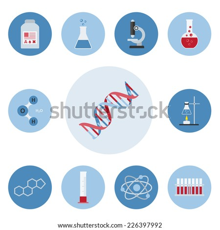 set of flat style icons on science, laboratory an research theme - stock vector