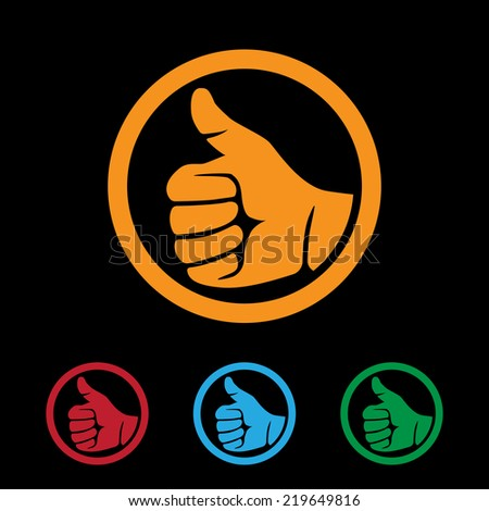 set of flat style icons with human hand showing thumbs up sign - stock vector