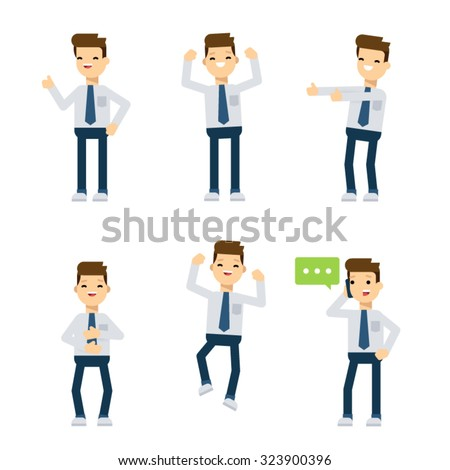 Set of flat style vector characters: office guy being happy. - stock vector