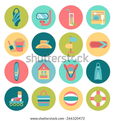 Set of flat summer icons - stock vector