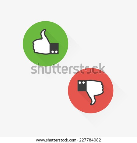 Set of flat thumbs up and down symbol icons - stock vector