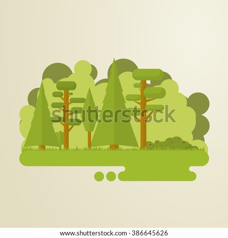 Set of flat trees in a forest. Woods, grass, bushes, pine-tree. - stock vector