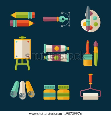 Set of flat vector artist and designer icons - stock vector
