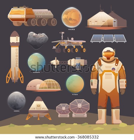 Set of flat vector elements on the theme of astronomy, space exploration, colonization of Mars, moon, Europa and Titan. Space adventure. The first colonies. Terraforming. Modern flat design. - stock vector