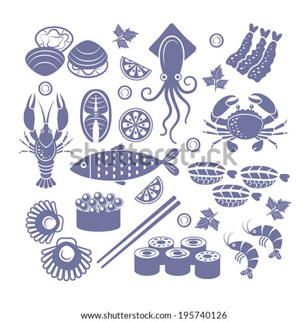 Set of flat vector icons seafoods and sushi. - stock vector