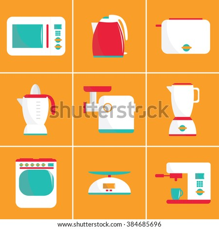 Set of flat vector kitchen appliances. Microwave, electric kettle, toaster, blender, meat grinder, juicer, oven, scales, coffee machine or espresso machine, maker. For print or web.Shopping cooking  - stock vector
