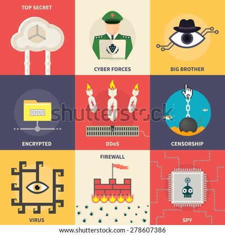 Set of flat vector modern icons, illustrations - cyber security, top secret, hacker attack, internet censorship, spy. Design elements for web, mobile applications, infographics. - stock vector