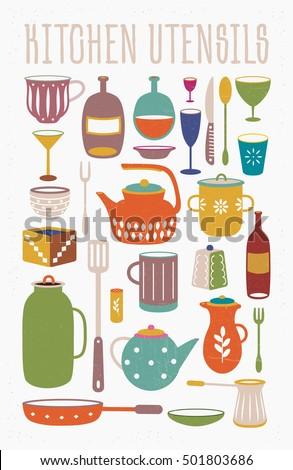 Vintage Kitchen Utensils Illustration cooking tools kitchenware equipment vintage kitchen stock vector