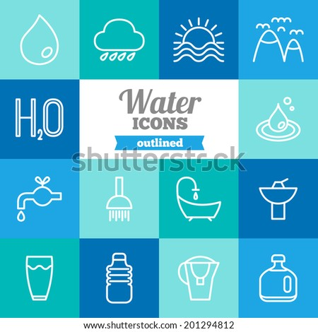 Set of flat water icons  - stock vector