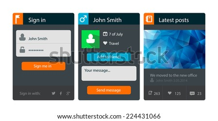 Set of flat web and user interface UI elements, icons and buttons for mobile app and web design