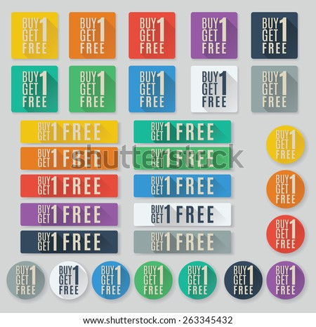 Set of flat web buttons with call to action text.  Buy one get one free or BOGO buttons - stock vector