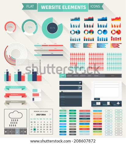 Set of flat website elements. Simple icons including info graphic statistic and charts, buttons, headers, footers, calendar and weather prognoses.  - stock vector