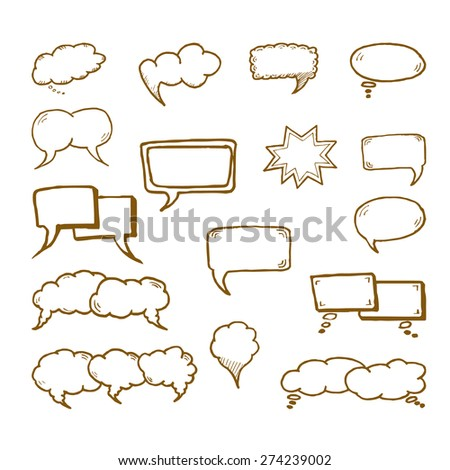 Set of flat white bubbles for speech on a white background. Elements for design.