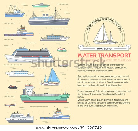 Set of flat yacht, scooter, boat, cargo ship, steamship, ferry, fishing boat, tug, bulk carrier, vessel, pleasure boat, cruise ship with blue sea background concept. Vector design thin line icons  - stock vector