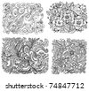 set of floral background is black - stock vector