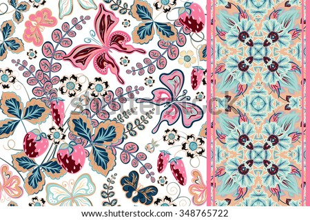 Set of floral background with strawberry and butterfly and seamless border (band ribbon strip). Retro seamless pattern. - stock vector