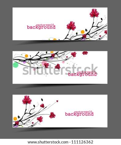 set of floral banner, flower vector header template. - stock vector