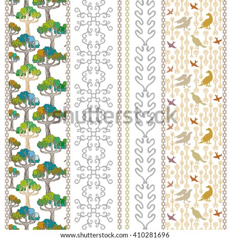 Set of floral borders with bohemian motifs. Hand drawn seamless pine trees pattern, birds print, baroque geometrical ornaments. Vintage textile collection. Golden, silver shadows on white.  - stock vector