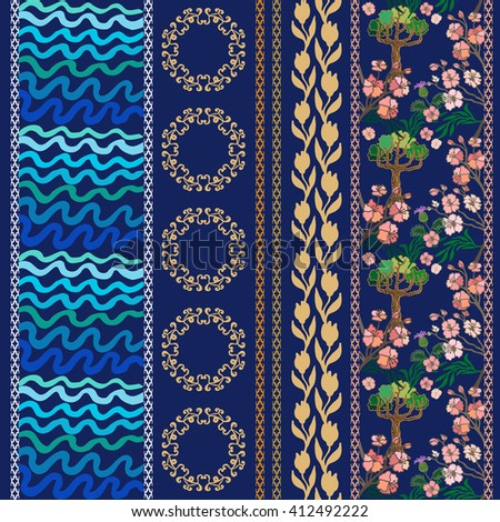 Set of floral borders with floral motifs. Hand drawn seamless pine trees pattern, sea waves print, blooming tulips, geometrical ornament. Vintage textile collection. Blue, pink shadows on dark blue.  - stock vector