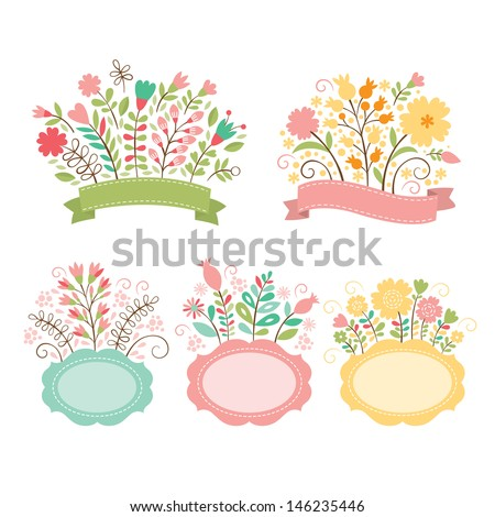 Set of floral bouquets and romantic frames, vector collection - stock vector