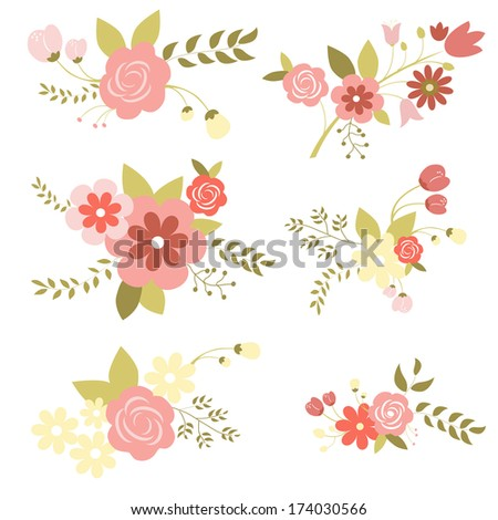 Set of floral bouquets, retro flowers  - stock vector