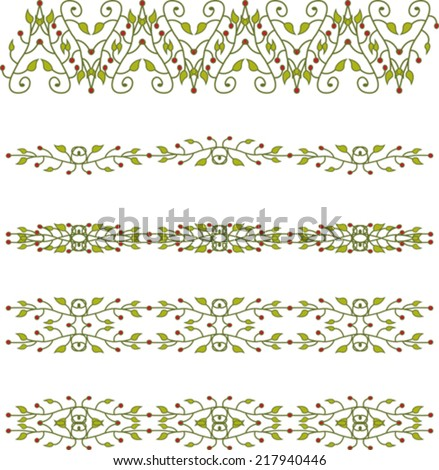 Set of floral branch border - stock vector