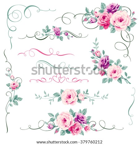 Set of floral calligraphic elements, dividers and corners. Decorative ornament with roses. Greeting card decorations. - stock vector