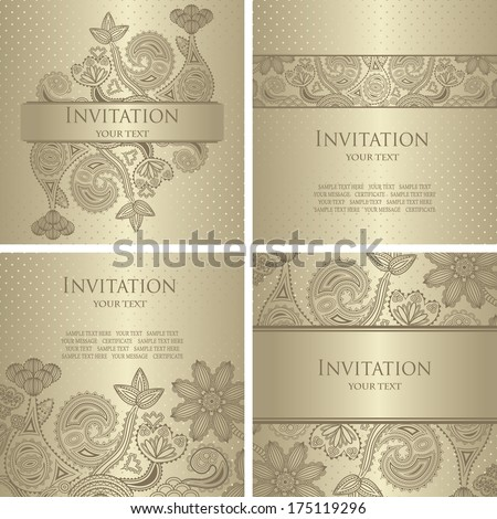 Set of floral cards. Elegant floral design. Can be used as wedding invitation. Pastel colors    - stock vector