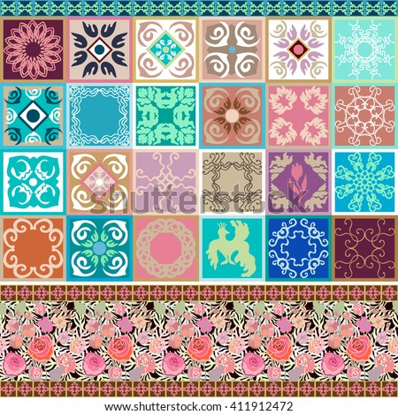 Set of floral ceramic tiles with colorful border. Oriental, Moroccan, Spanish, Italian motifs. Geometric ornaments, golden palm leaves and roses seamless pattern. Terracotta collection. - stock vector
