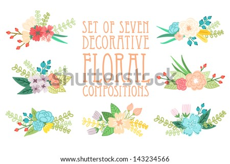 Set of 7 floral compositions, decorative vector illustration - stock vector