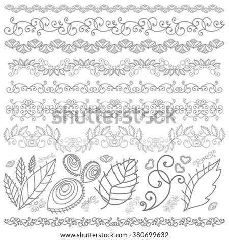 Set of floral decoration vector elements. Vintage ornaments. Retro style design. Collection for invitations, cards, banners, posters, signs and logos. - stock vector