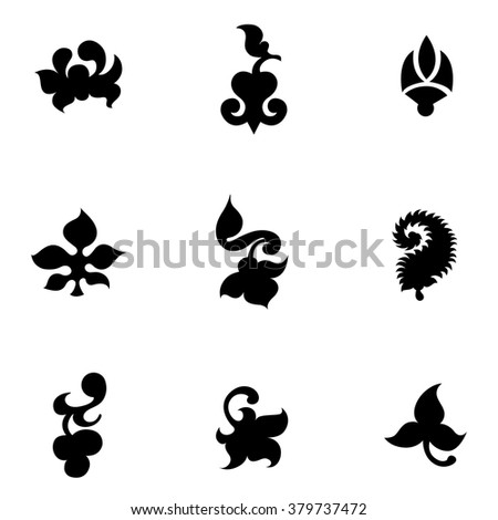 Set of floral decorative elements for design - stock vector