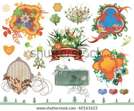 set of floral design elements in different styles - stock vector