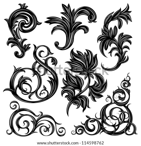 Set of floral design elements isolated on white - stock vector