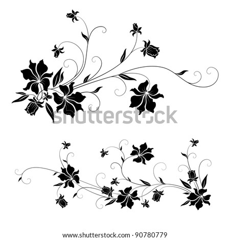 Set of floral design elements with swirls - stock vector
