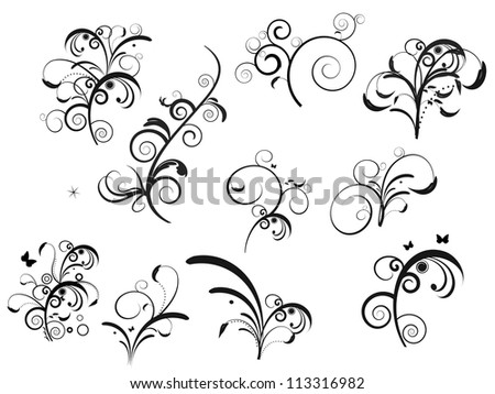 Set of floral designs - stock vector