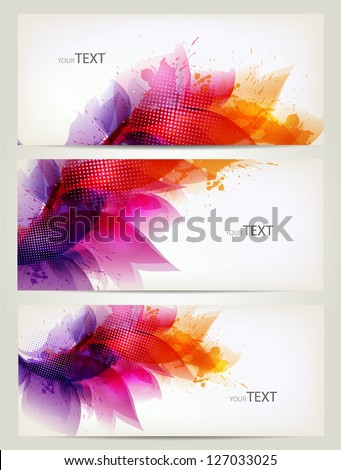 Set of floral element and colorful blots. Vector design