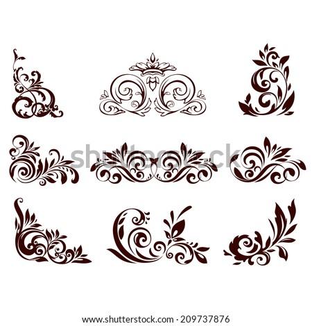 Set of floral element for design. Vector illustration. - stock vector
