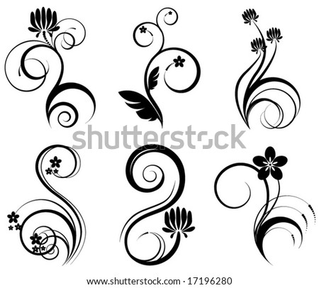 set of 6 floral elements - stock vector