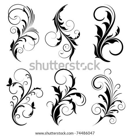 Set of floral elements for design. - stock vector