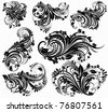 Set of floral elements for vintage design - stock vector