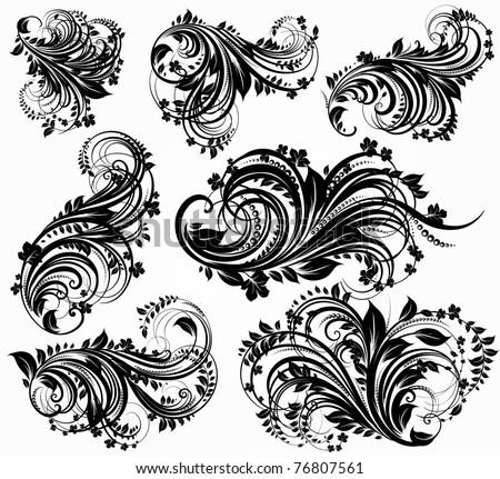Set of floral elements for vintage design - stock vector