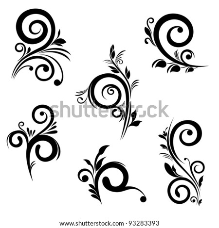 Set of floral elements for Your design - stock vector