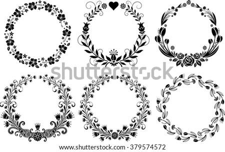 set of floral frame - stock vector