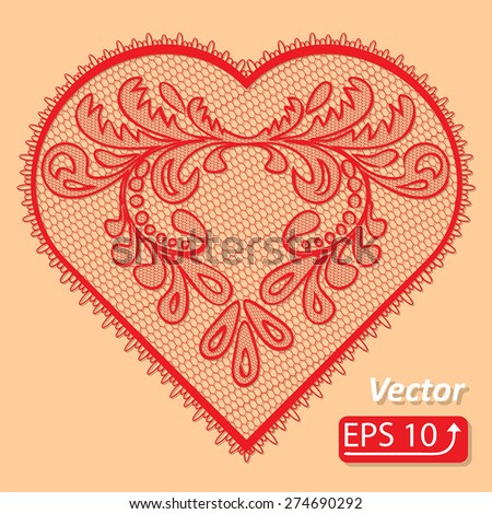 Set of floral frame lacy hearts shapes with hand drawn floral ornaments. Love concept for Valentines Day or Wedding design, red lace heart , isolated on beige background vector illustration - stock vector