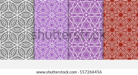 set of floral geometric lace ornament on color background. Seamless vector illustration. For interior design, wallpaper