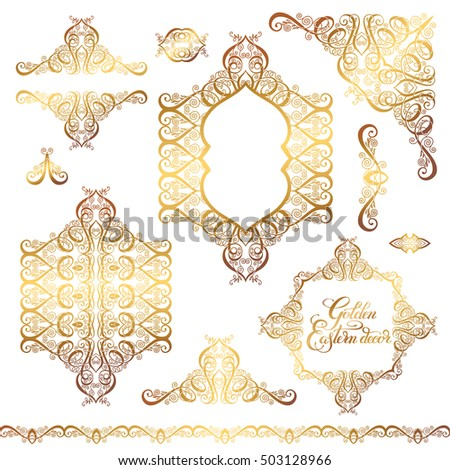 set of floral golden eastern decor frame elements  paisley pattern  collection for wedding invitation. Set Floral Golden Eastern Decor Frame Stock Vector 503128918