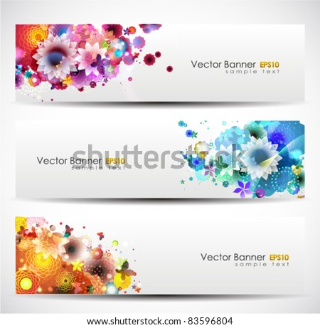 Set Of Floral Header. Vector Illustration. - stock vector