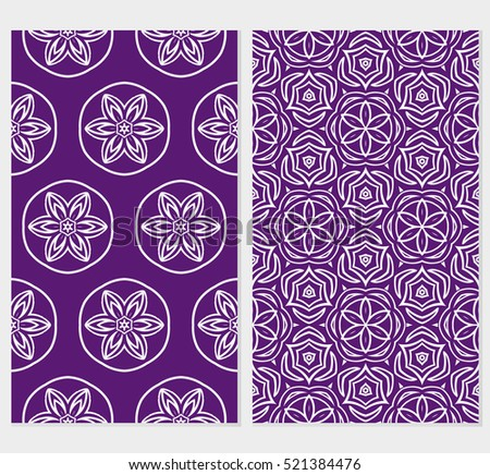 set of floral ornament for your greeting cards. green, purple color. vector illustration.